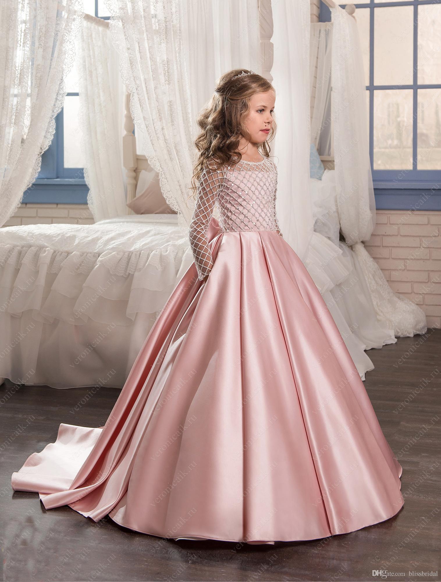 Pink Color Flower Girl Dresses 2017 Satin Bottom Kids Evening Gowns Beaded Long Sleeves Girls Pageant Dresses