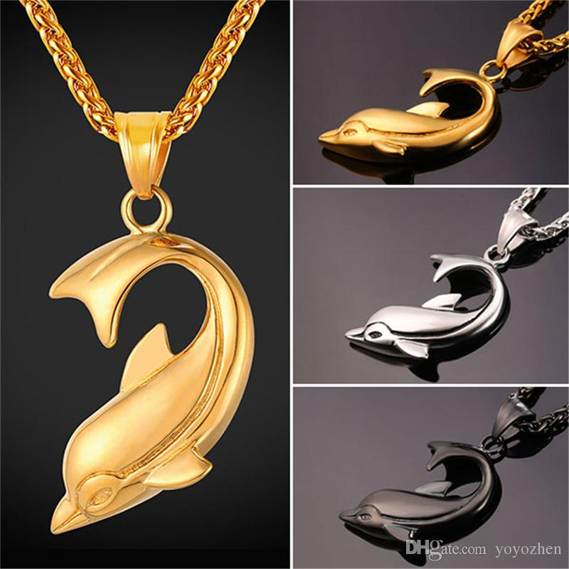 Cute dolphin necklaces pendant for women men black gun18k gold cute dolphin necklaces pendant for women men black gun18k gold plated stainless steel fashion jewelry dolphin pendant necklace 18k gold plated necklaces aloadofball Gallery
