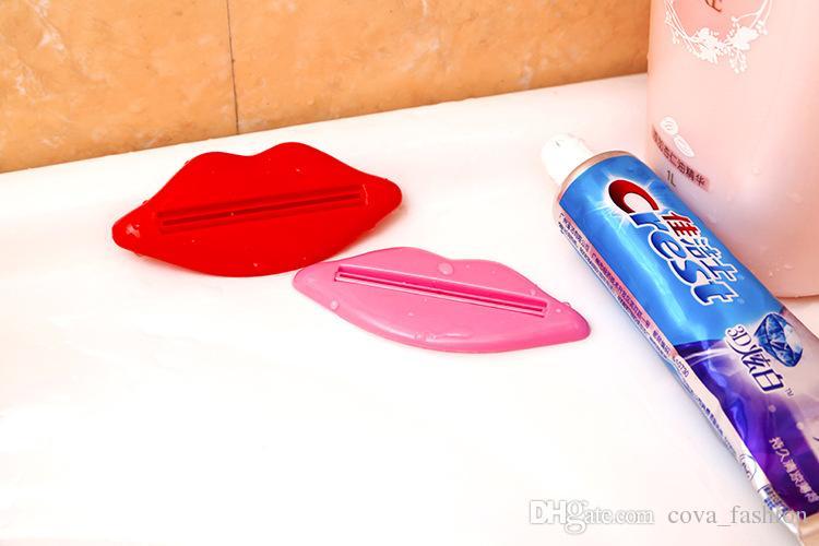 Forma de labios Pasta de dientes Exprimidor de pasta de dientes Dispensador de tubo de baño Dispensador de tubos de baño Fácil Prensa cosméticos exprimir baño conveniente conjunto