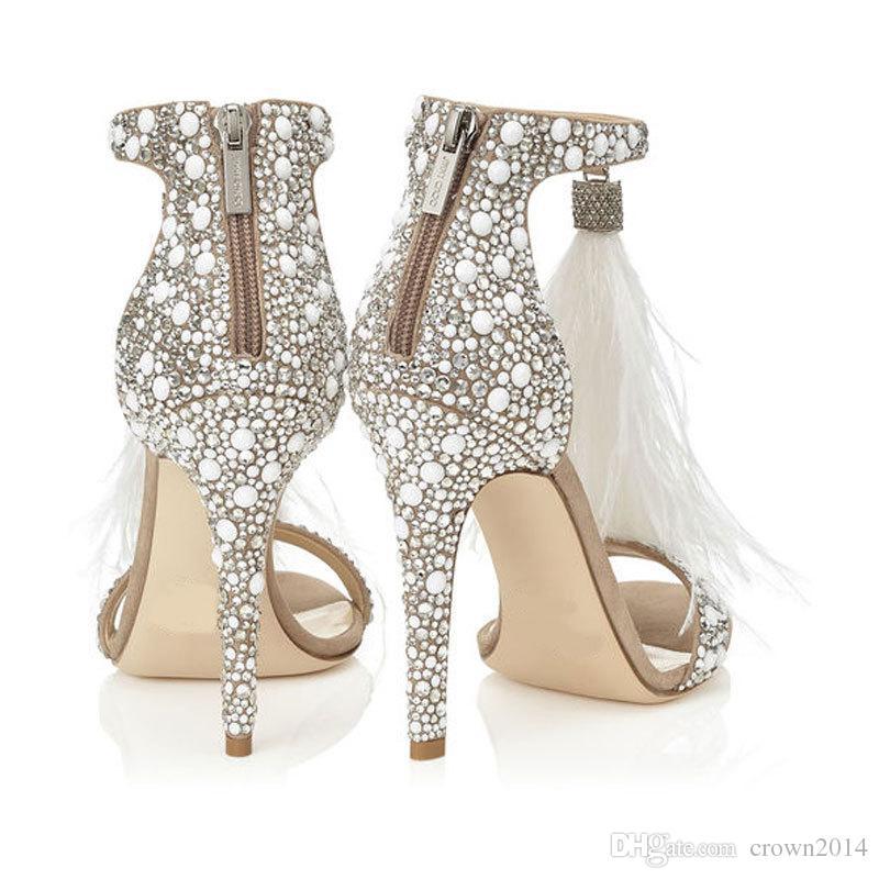Zapatos de boda de plumas de moda de 2019 4 pulgadas zapatos de tacón alto cristales de diamantes de imitación con cremallera sandalias de fiesta zapatos para mujeres sin logotipo