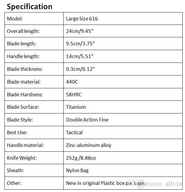 Allvin Manufacture Large Size 616 Auto Tactial Knife 440C Double Action Fine Edge Titanium Blade Outdoor Survival Tactical Gear EDC Tool