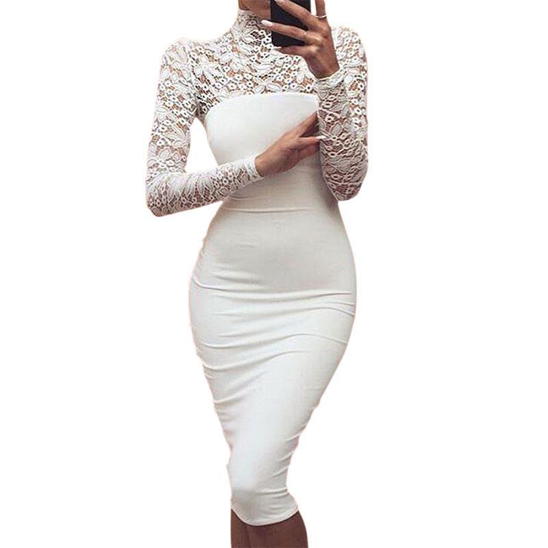 2018 Hollow Simple Women Lace Dresses Autumn Long Sleeve Bodycon
