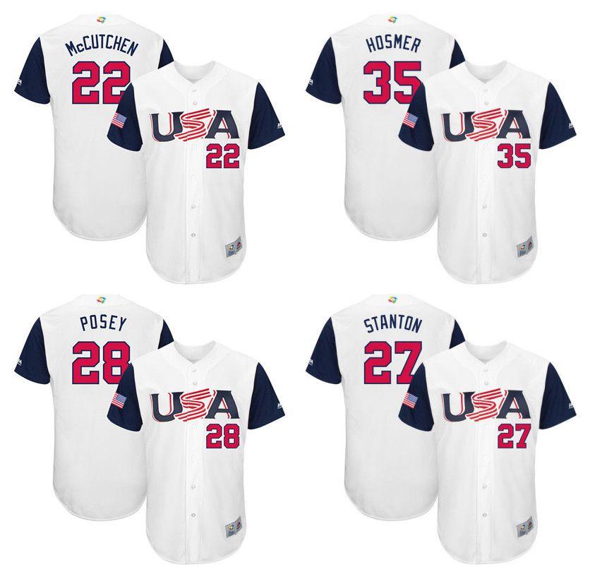 7534b45e2 ... Authentic 2017 MenS Usa Baseball 22 Andrew Mccutchen 28 Buster Posey 35  Eric Hosmer 27 Giancarlo Stanton Mens Canada Baseball Majestic White 2017  World ...