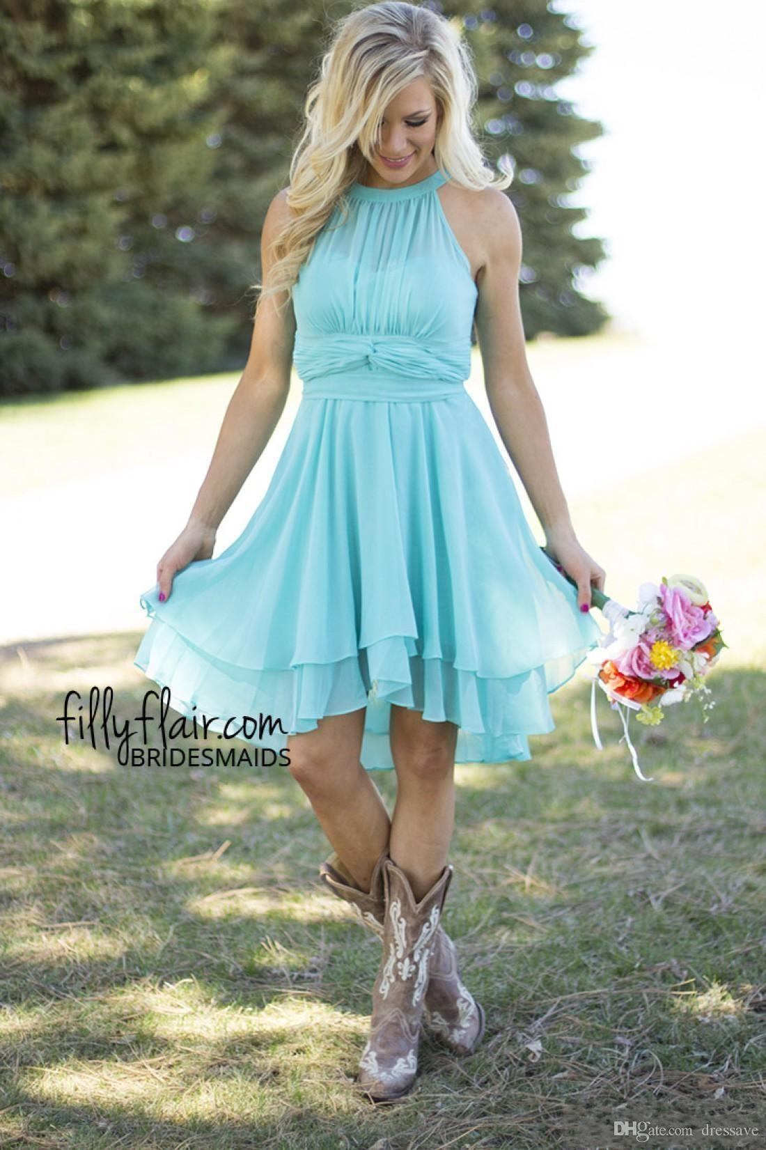 2018 стиль страны короткие платья невесты арбуз королевский синий высокий низкий дешевые Холтер шеи Ruched спинки дешевые фрейлина платье