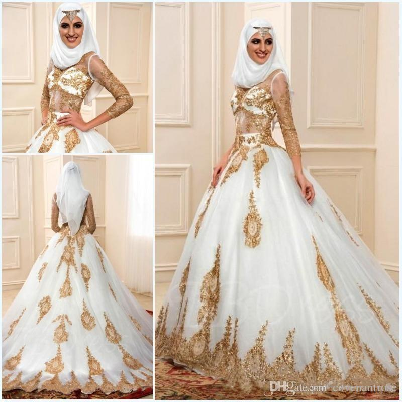 a5923fdb94 Muslim Wedding Dresses 2017 Gold Applique 3/4 Long Sleeves Sexy Sheer Indian  Styles Arabic Bridal Gowns Real Picture Bridal Wear Brides Dresses From ...