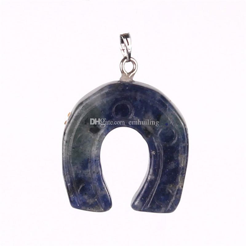 A ferro di cavallo in pietra naturale zoccoli di cavallo zircone misto gioielli fortunati pietre colroful pendenti di fascini monili che fanno 10 pz / lotto spedizione gratuita