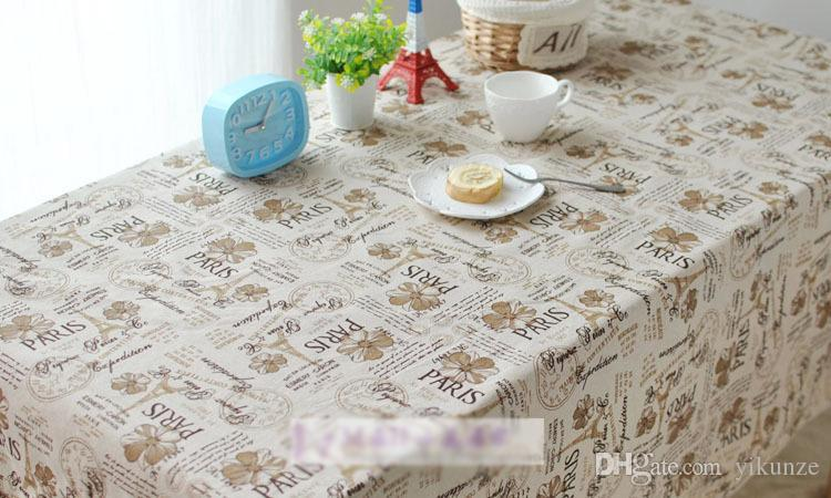 European Classical Cafe Dining Table Cloth Paris Printed Coffee Color Fabric Handmade Diy Clothing Pillow Cushion White Cotton Tablecloth Round