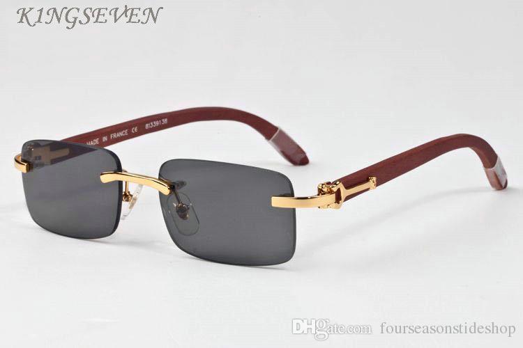 2020 óculos de chifre de búfalo nova chegada Fashioin óculos de sol para óculos de sol madeira mulheres sem aro claras espelho retangular de suas lentes de sol pretos