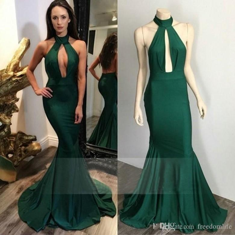 Real Photos Emerald Green Prom Dresses Halter Mermaid Arabic South