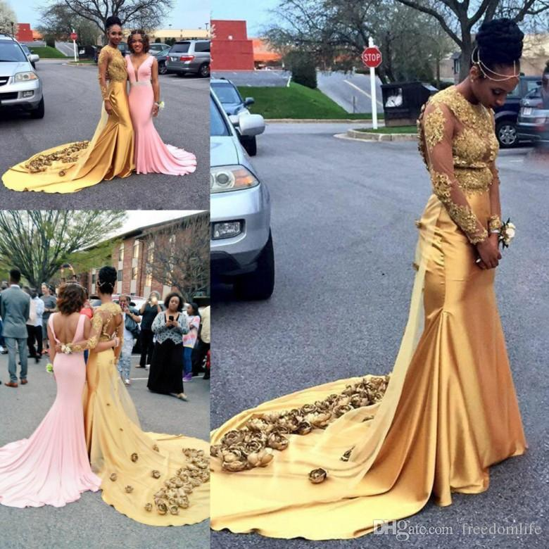fb8fadd0d3c5 Sexy Gold Prom Dresses For Black Girls 3D Flowers Lace Appliques Sheer Long  Sleeves Open Back Mermaid Evening Party Gown Custom Made Plus Size Short  Prom ...