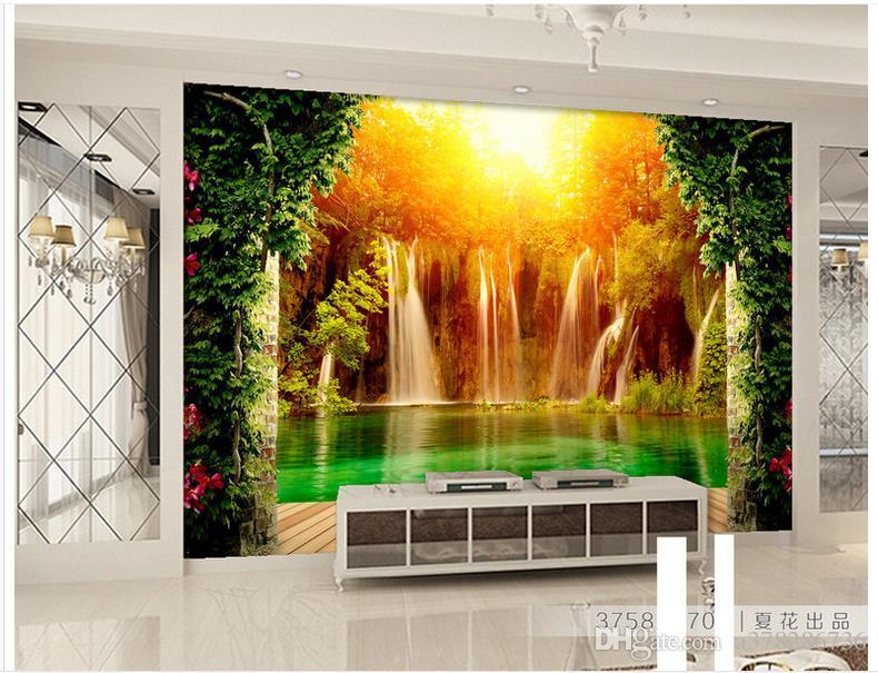 3D foto papel de parede personalizado murais de parede papel de parede mural Cachoeira Paisagem Pastoral 3D Pano de Fundo papel de parede pintura sala de estar decoração da parede