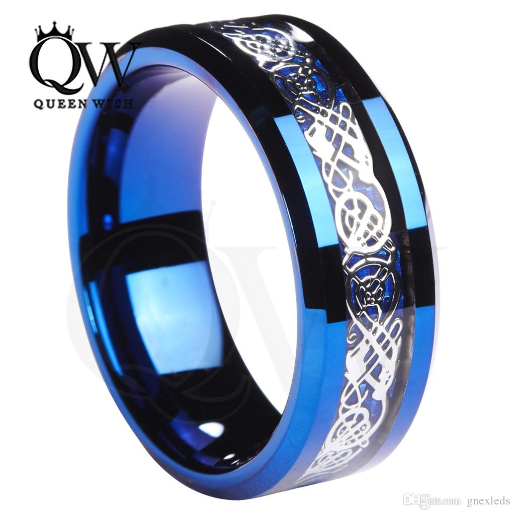 queenwish men promise rings 8mm tungsten blue ring celtic. Black Bedroom Furniture Sets. Home Design Ideas