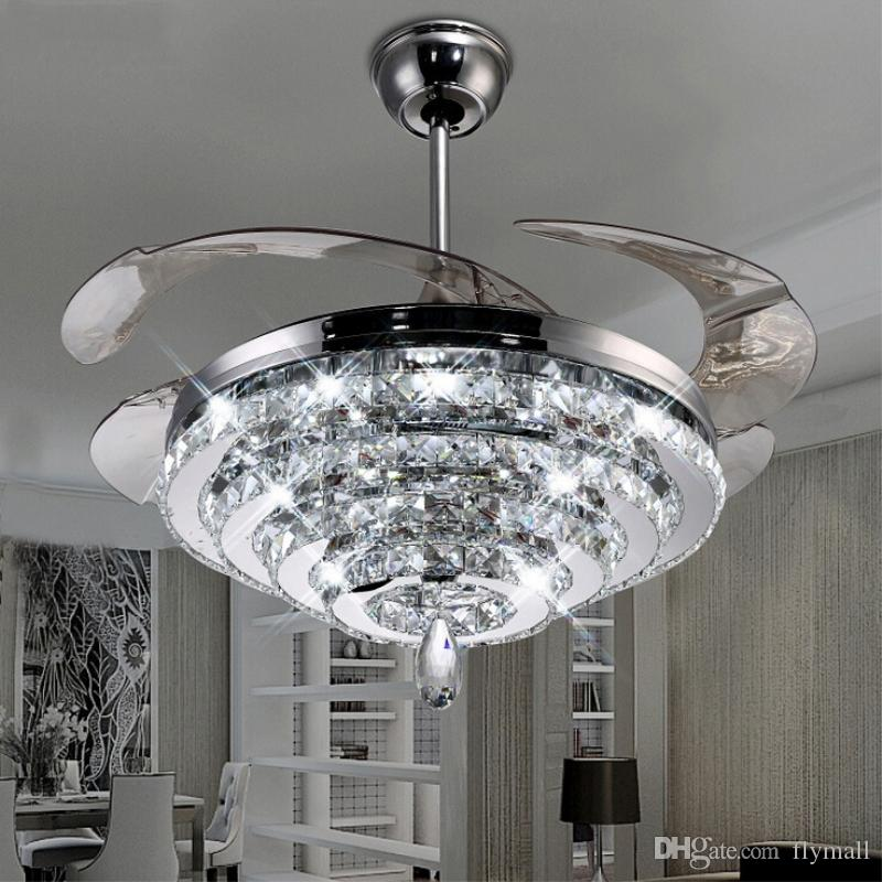 Ceiling Fans Led Crystal Chandelier Fan Lights Invisible Living Room Bedroom Restaurant Modern 42 Inch With