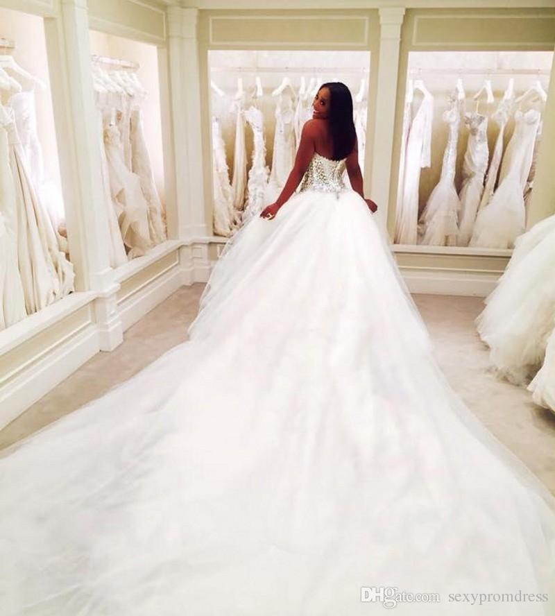 반짝 이는 구슬 볼 가운 웨딩 드레스 2017-2018 아가씨 위로 레이스 위로 신부 가운 사용자 정의 만든 법원 기차 웨딩 Vestidos