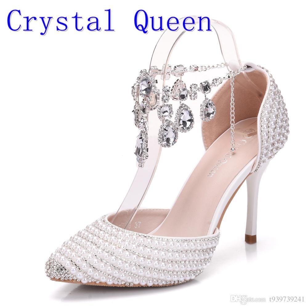 da25d5348f Großhandel Crystal Queen Brautschuhe Frauen Kristall Strass Spitz High  Heels Sexy Hochzeit Abendgesellschaft Schuhe Damen Pumps Von T939739241, ...