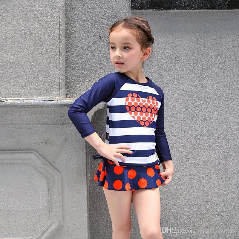 Kleinkind Badeanzug Kinder Bademode für Mädchen mit langen Ärmeln Nette Schwimmen-Klage Kinder zweiteiliger Badeanzug für Kinder Bikini Bademode