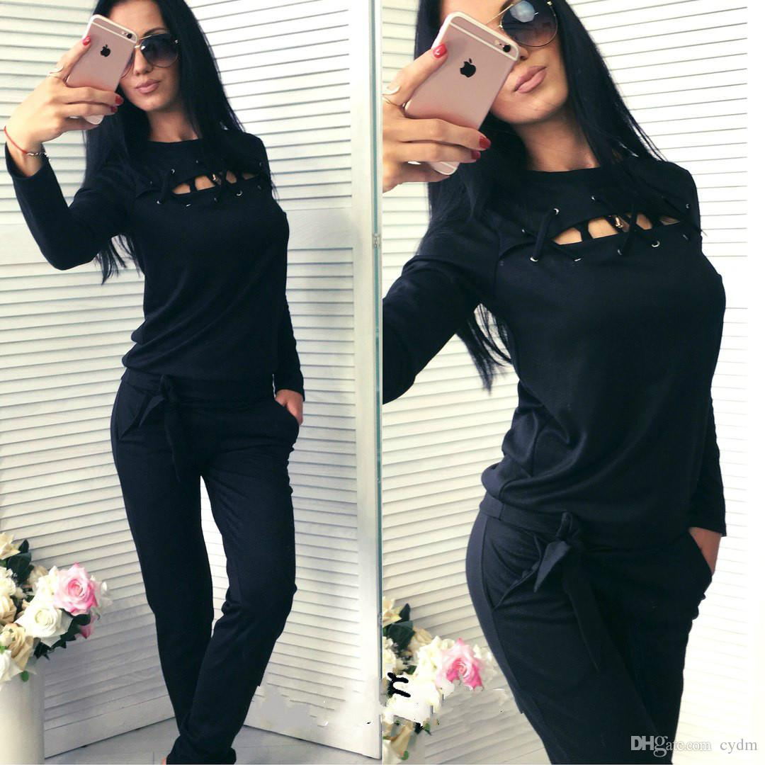 European new solid color rounded round neck long sleeve sweater casual sports suit,gray, black, pink,support mixed batch