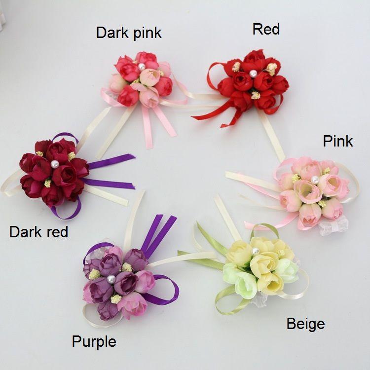 bomboniere matrimonio decorazioni floreali fiori artificiali polso corsage damigella d'onore polso fiore sorelle fiore