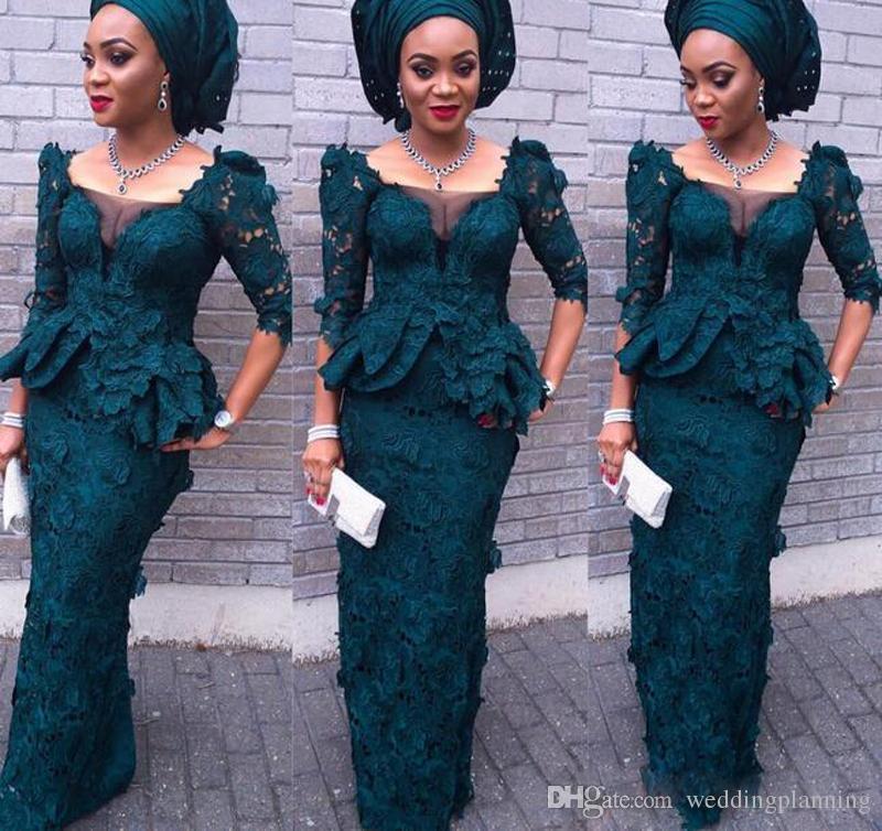 Luxury Aso Ebi Style Modest completi abiti da sera in pizzo Mermaid Juliet Square maniche lunghe Peplo Abiti formali verde scuro donne abiti da ballo