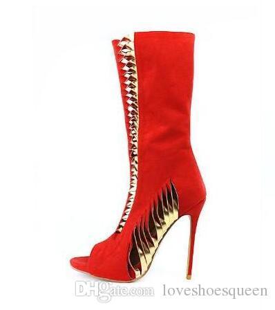 2017 mujeres mediados de botas de gladiador de becerro sexy botines de lentejuelas mujeres botín punta estrecha botas rojas de las mujeres zapatos de vestir