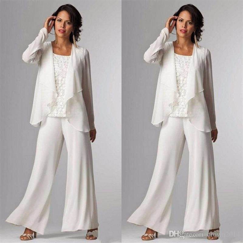 72585f5f7cb 2018 Elegant Evening Mother Of The Bride Dresses Ankle Length Long Sleeve  Jackets Lace Pant Suits For Women Mother Groom Plus Size Gowns Police  Officer Mom ...