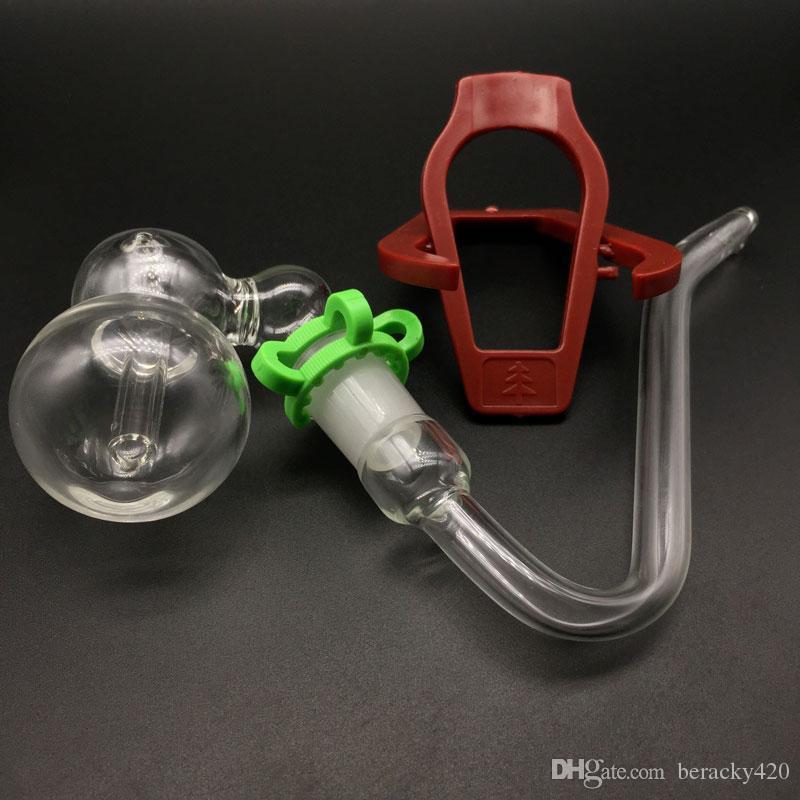 Gorgogliatore di cenere di vetro da 18 mm con ganci a J Ganci di vetro J e tubi pieghevoli in plastica