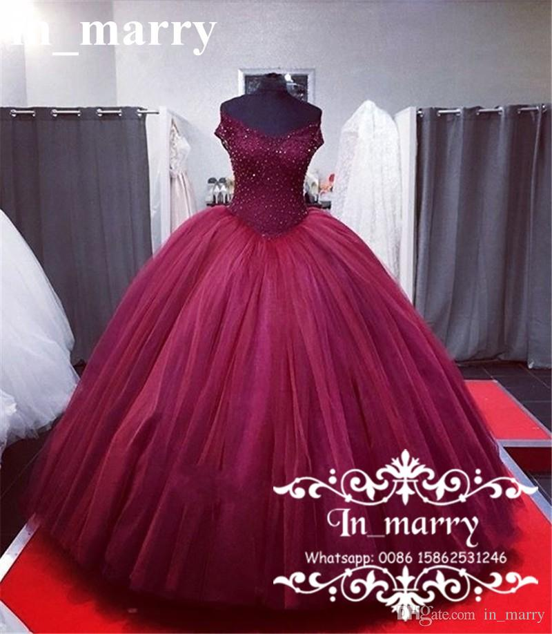 Burgundy Designer Sweet 16 Quinceanera Prom Dresses 2017 Ball Gown ...