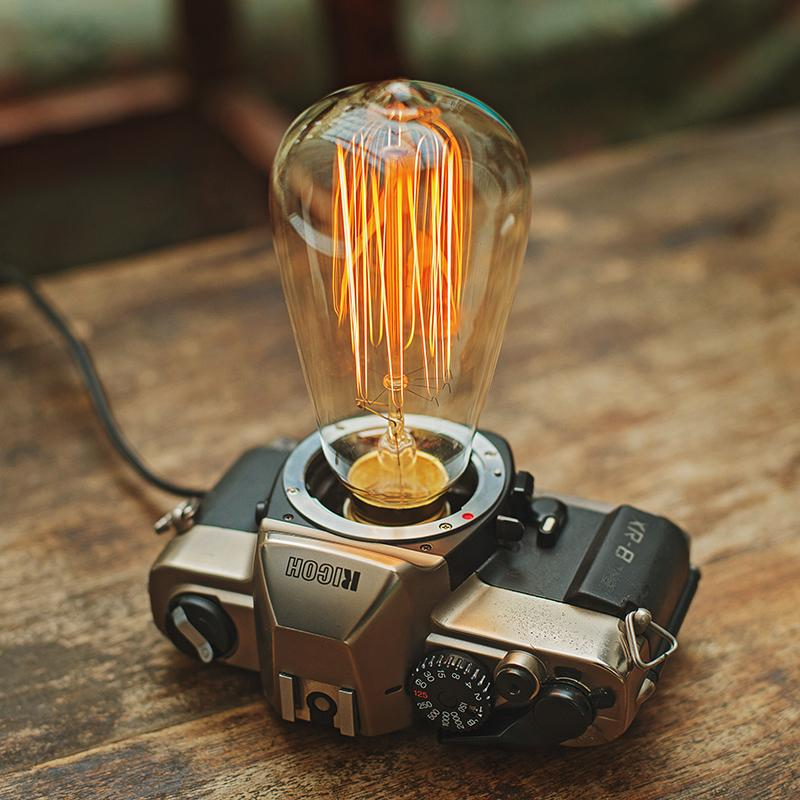 2018 Wholesale Creative Desk Lamp Vintage Camera Light Decoration Edison  Table Lamp Abajur Para Quarto Retro Desk Light From Lightlight, $202.68 |  Dhgate.