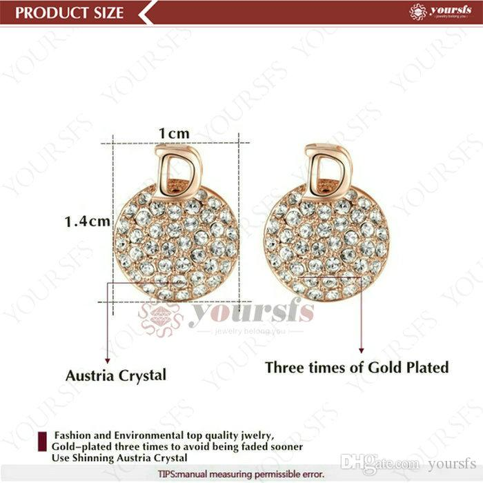 Yoursfs 18K White Gold Plated Full Crystal Plate Necklace and Earring Use Austrian Crystal Bridal Jewelry Set
