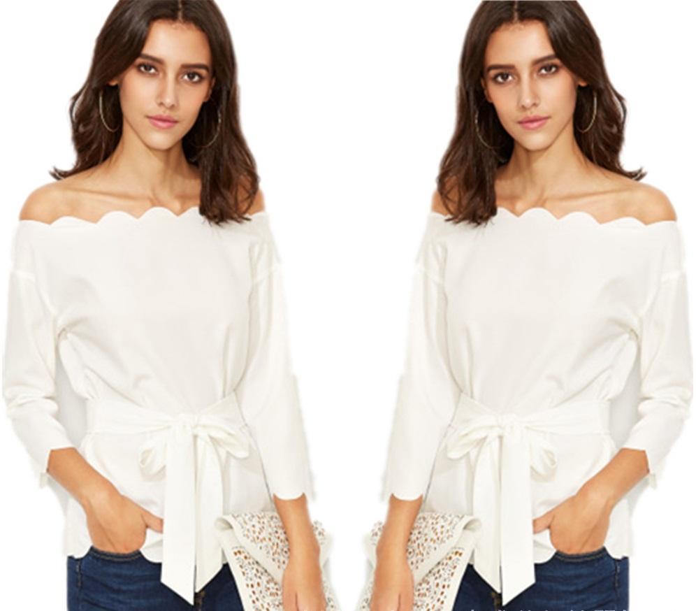 67468849ddcfd Fashion New Bow Cotton Shoulderless Belt Blouses Shirts Women Plus Size  Spring Autumn Summer Slash Neck Sashes Ruffles T Shirt Coat Tops New Bow  Cotton ...