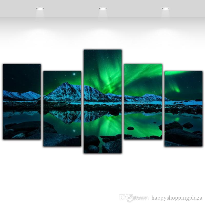 Großhandel 5 Panel Leinwand Kunst Aurora Borealis Sea Wave Leinwand ...