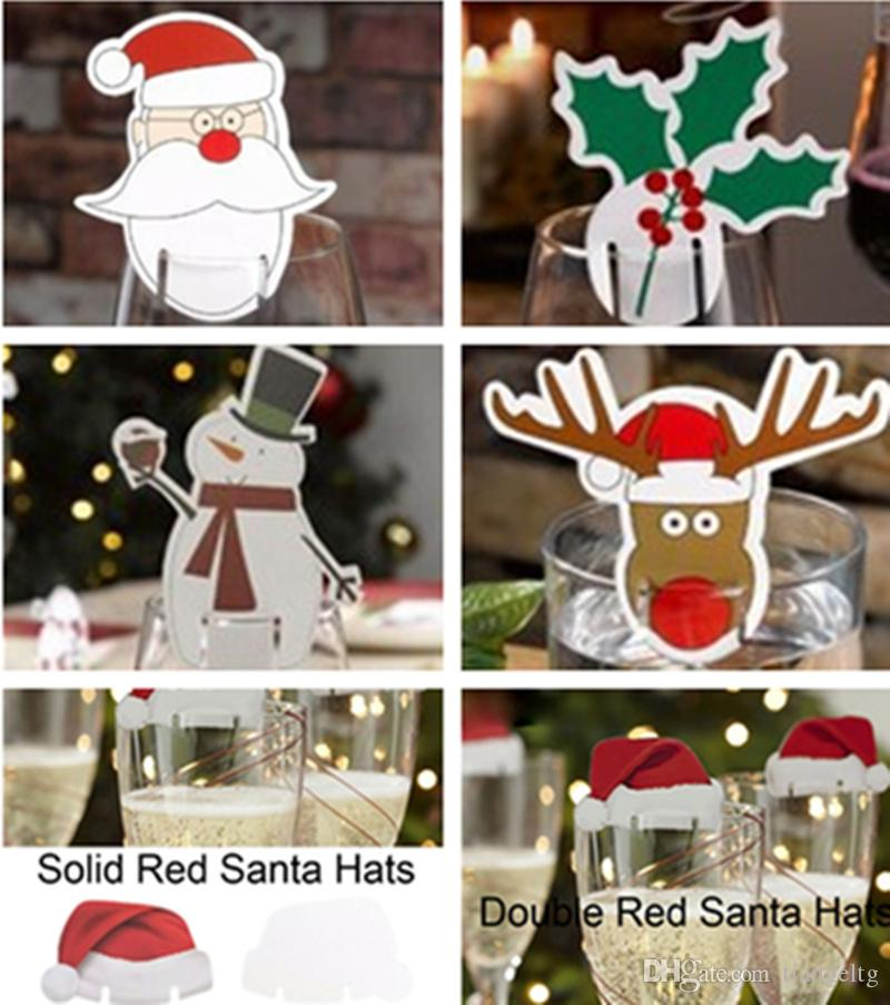 Christmas Wine Glass Insert Card Table Place Paperboard Red Santa ...
