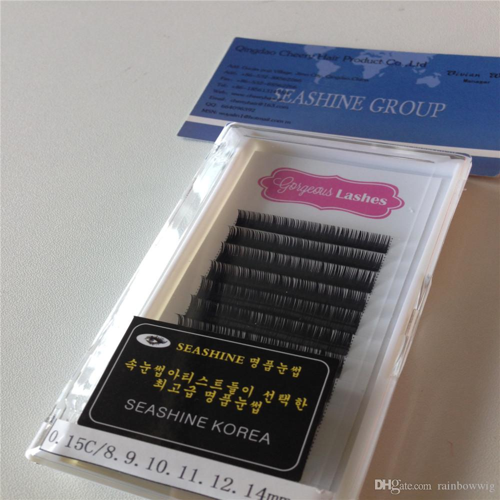 Fashionable individual eyelashes silk lashes with private label 0 10 mm C  curly 0 07