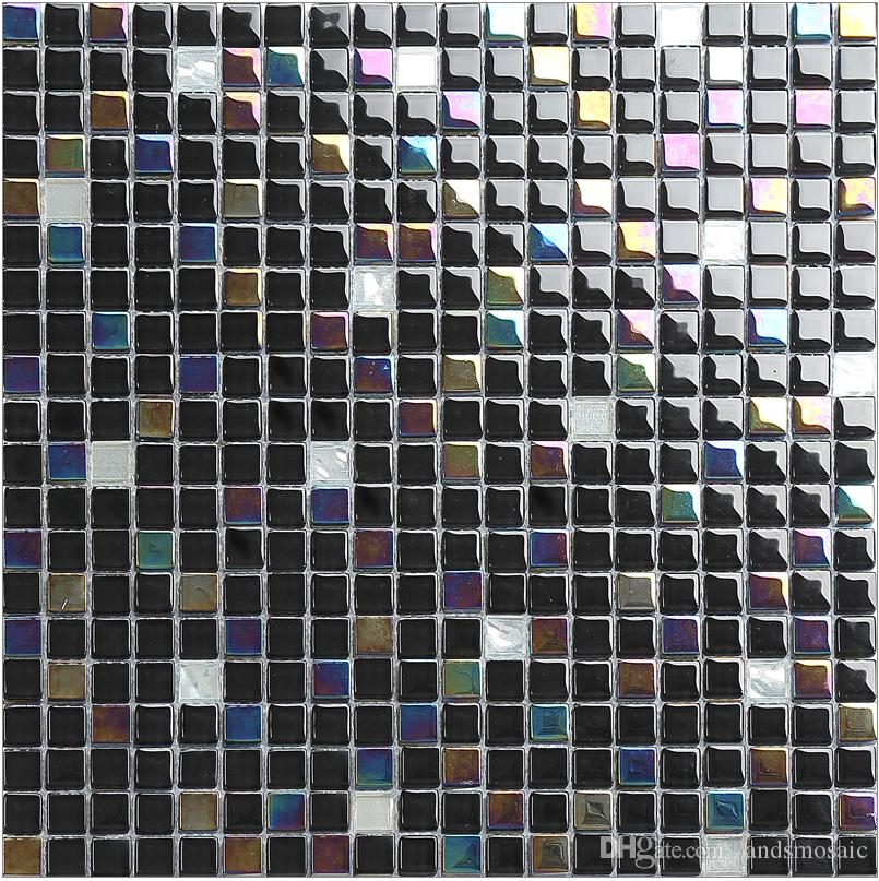 2018 Black Mix Rainbow Color Glass Mosaic Tiles Hot Sell Flooring