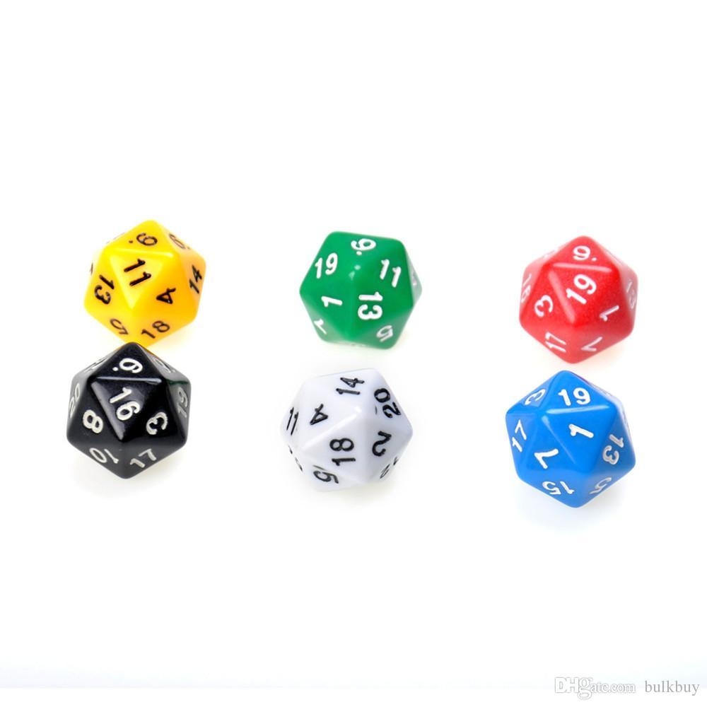 D20 النرد عشرون الوجه يموت rpg dd ستة ألوان مبهمة متعدد الراتنج متعدد السطوح للجوانب النرد البوب ل عبة الألعاب بالجملة