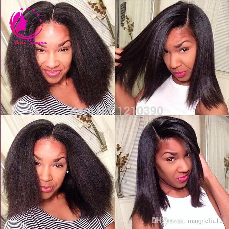 Gluless Lace Wigs Human Hair Black Women Lace Front Kinky Straight Wig Italian Yaki Coarse Yaki Full Lace Wig With Baby Hair