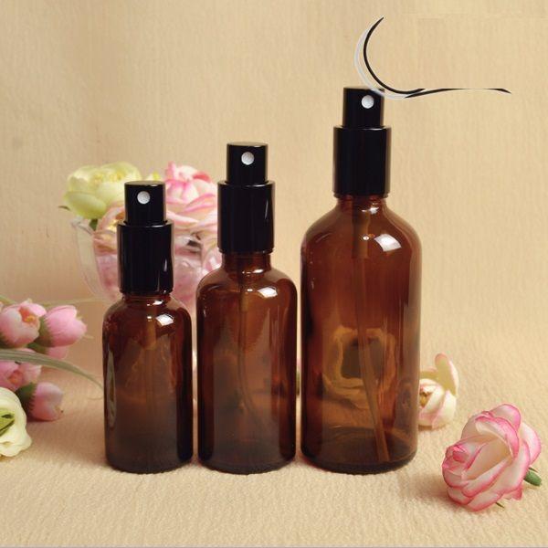 30ml di vetro ambrato spray bottiglie all'ingrosso di oli essenziali bottiglia di vetro con tappo nero i profumi cosmetici da DHL
