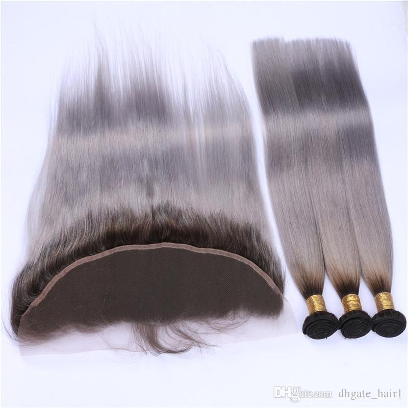 실버 그레이 옴 브레 3 번들 페루 인류 머리카락 정면 실키 스트레이트 1B / 그레이 옹 브르 13x4 레이스 정면 클로저 4 개짜리 로트