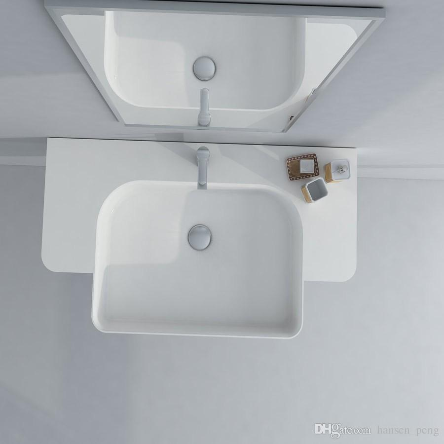 Rectangular Bathroom Solid Surface Stone Wash Basin wall hung Matt White Or Glossy Laundry Vessel Sink RS38187