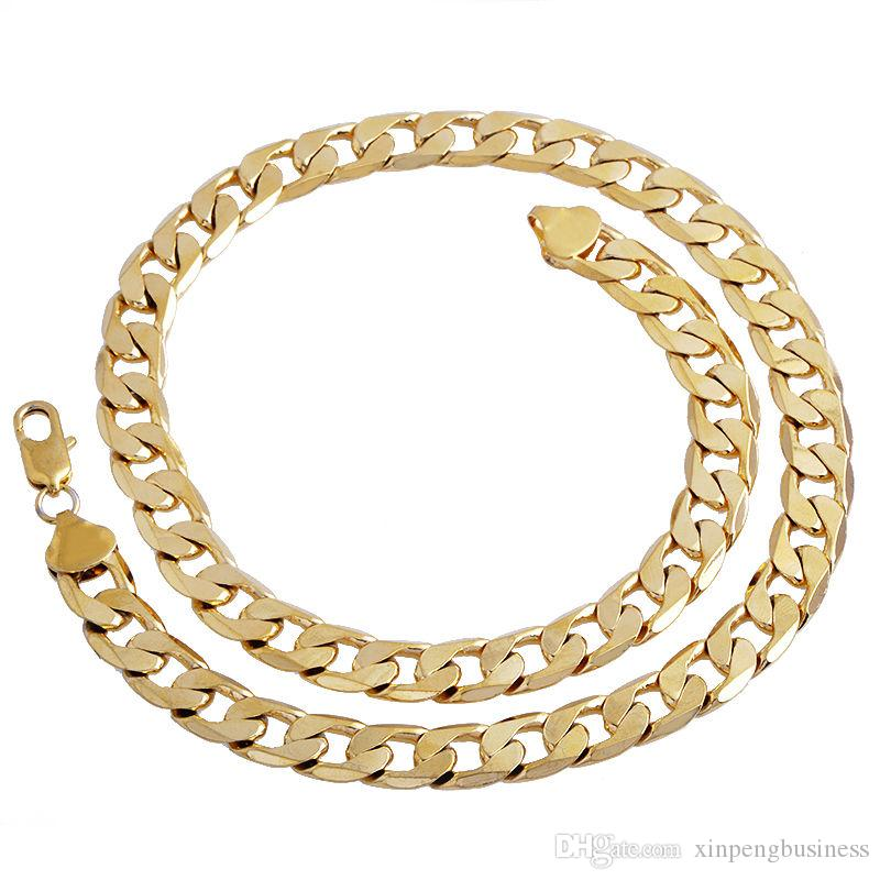High quality 14K YELLOW Solid GOLD GF FLAT RIM CURB CHAIN WOMEN MEN SOLID CHARM 23.6INCH NECKLACE 10MM