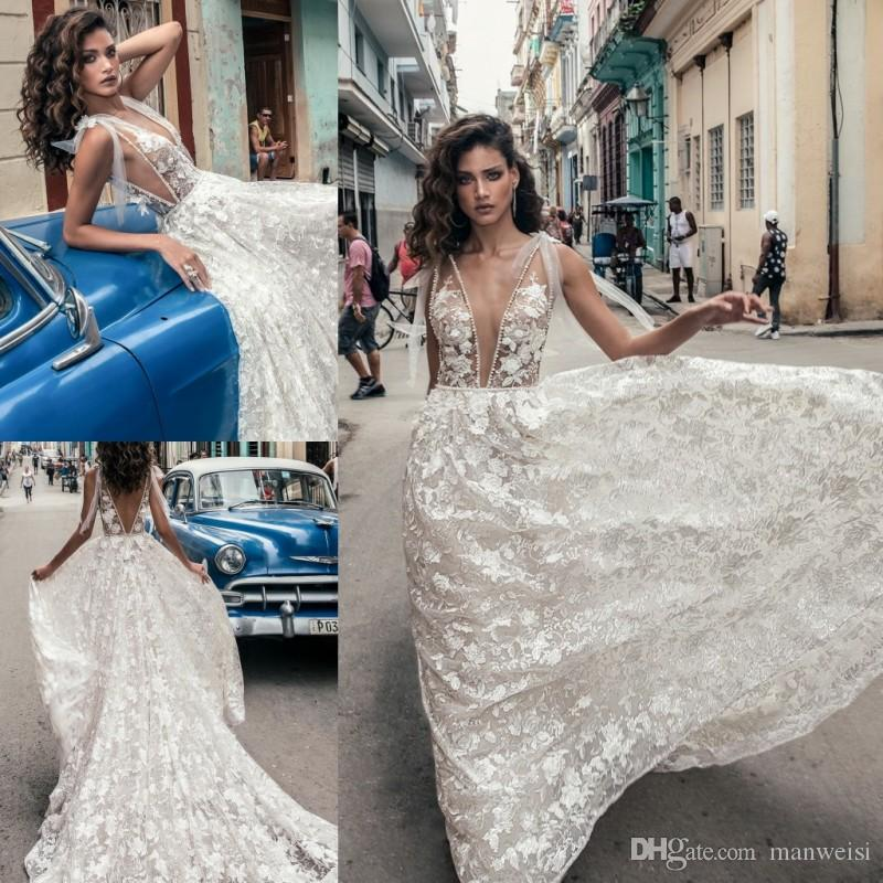 bd716c8223c5 Discount Julie Vino 2018 Sexy Wedding Dresses Sheer Plunging Neckline Full  Lace Backless Bridal Gowns Plus Size Beaded Wedding Dress A Line Chiffon  Wedding ...