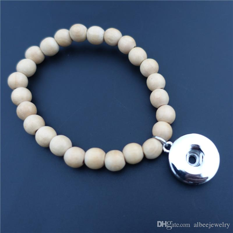 Women Fashion Wooden Beads Rosary Noosa Chunks Metal Ginger 18mm Snap Buttons Bracelet Men Jewelry Wholesale