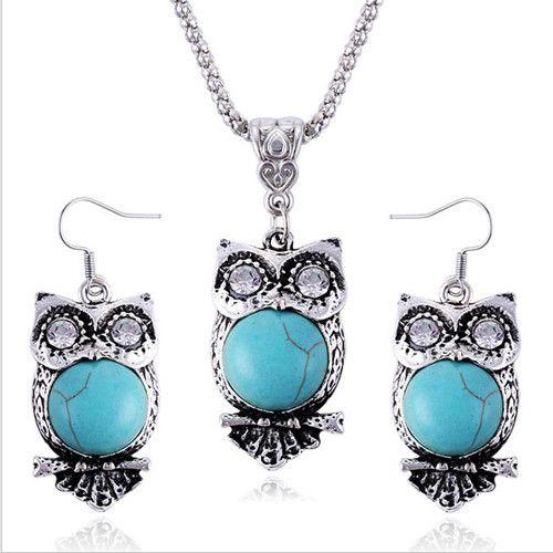 Parures de bijoux Collier Boucles d'oreilles Mode Femmes Vintage Ethnique Imitation Turquoise Strass 2 Pièces Ensemble Bijoux de Partie En Gros TJS008
