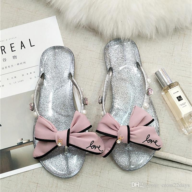 fb6a711ce Sweet Girls Pink Love Bow Sandals Luxury Big Rhinestone Flip Flops Women  Bling Transparent Sandals Bowknot Sandalias Mujer A15 Prom Shoes Silver  Shoes From ...