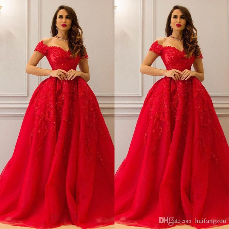 2019 Red Ball Gown Lace Evening Dresses Appliques Beaded Off Shoulder  Neckline Prom Dress Floor Length Ruffles Formal Evening Gowns And Dresses  Black And ... f9ac61b07