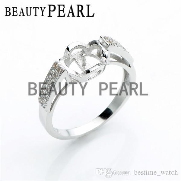 Bulk of Ring Findings Cubic Zirconia 925 Sterling Silver Ring Base for DIY Pearl Jewellery Mount