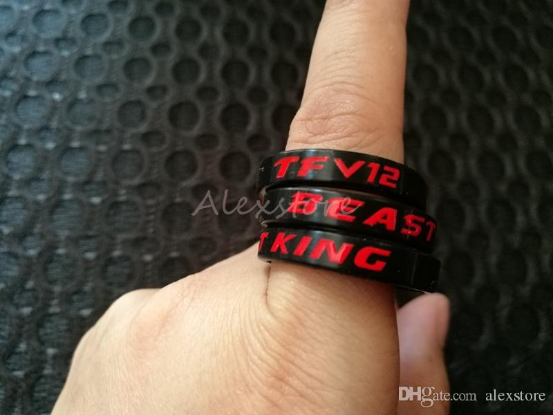 TFV12 BEAST KING Silicone Vape Banda Preto Vermelho Silício Beleza Anel Decorativo 23.7 * 5mm para Smoktech TFV12 Vape Mod e-Cig Acessórios