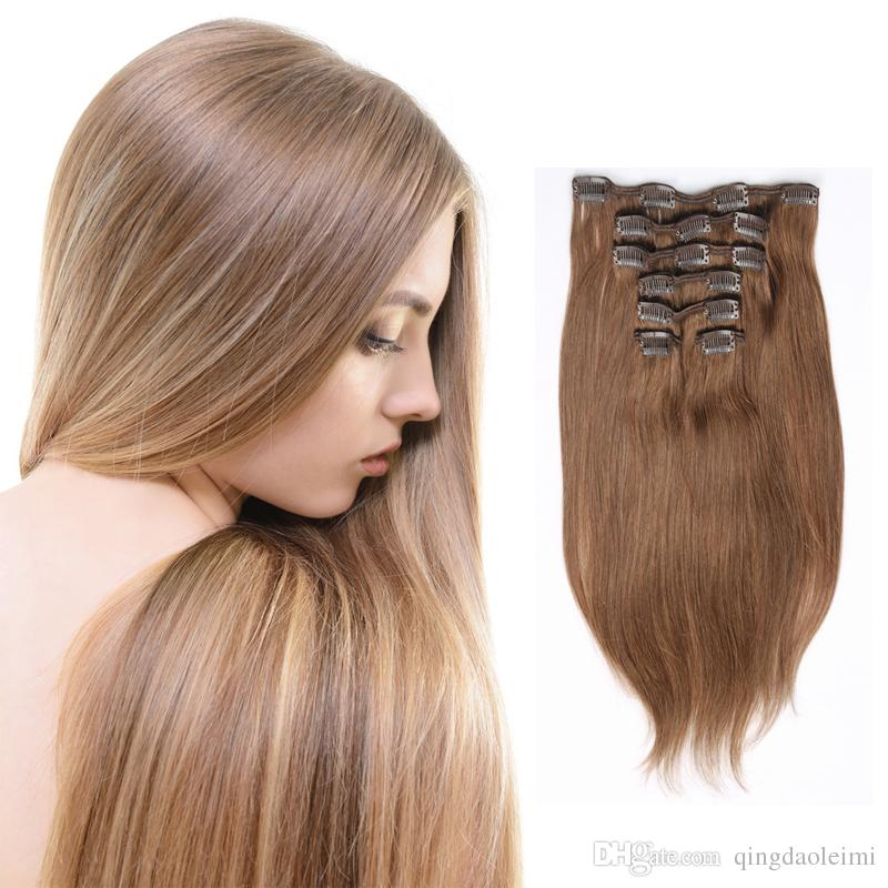 Clip In Human Hair Extensions Natural Color Bleach Honey Blonde 613