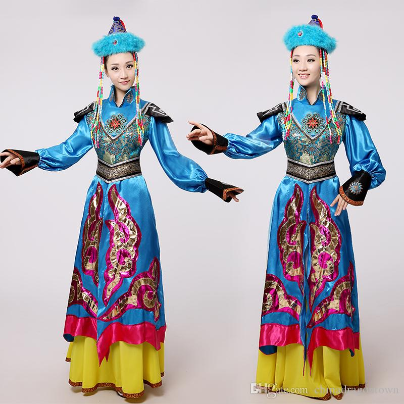 fdf12a494 2019 New Women Ethnic Clothing Blue Mongolian Costume Dance Clothes Ancient  Princess Dress Stage Performance Clothing Chinese Folk Dance Costume From  ...