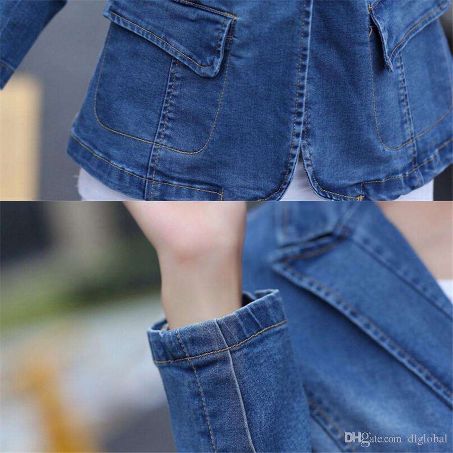 Spring Summer Autumn Slim Denim Jacket Plus Size Blue Long Sleeve Jeans Jacket One Button Fashion Slim Suit Jackets